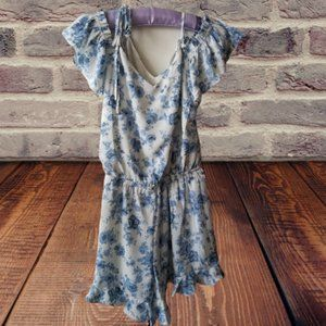 NWOT White with Blue Floral Pattern Romper